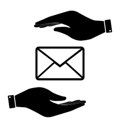 Letter in hand icon vector