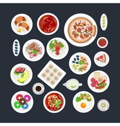 Food set top view vector