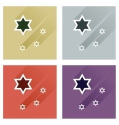 Concept of flat icons with long shadow star david vector