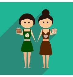 Flat icon with long shadow two girls gifts vector