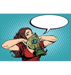 Civil defence girl wears a protective gas mask vector