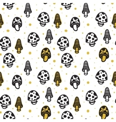 Hand drawn seamless pattern with mushrooms vector