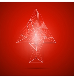 Abstract transparent arrow on red background vector image vector image