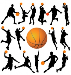 basketball player and ball vector image vector image