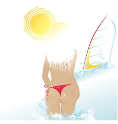 beach woman and windsurf vector image vector image