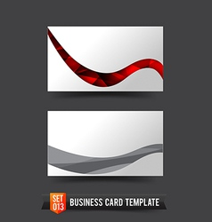 Business card template set 013 red curve wave vector