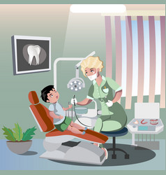 children s dentist and patient vector image