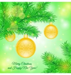 Christmas tree branch with Christmas yellow toys vector image