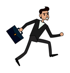 Color image cartoon full body man running with a vector
