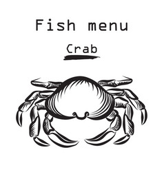Crab icon seafood sign fish menu restraunt cover vector