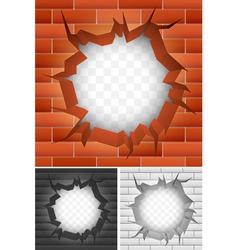 Crack in brick wall vector image vector image
