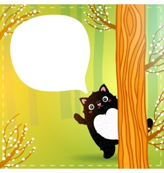 Cute cartoon fat black cat in the fairy forest vector