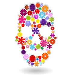 Flower-skull-colors-on-white vector image vector image