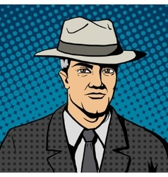Gangster man with hat pop art vector image