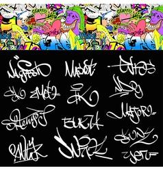 Graffiti font tags urban set vector image vector image