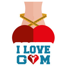 I love gym heart body lose weight vector