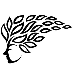 Icon face and leaf tattoo isolated vector image vector image