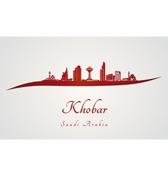 Khobar skyline in red vector