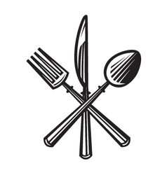 knife fork and spoon vector image vector image