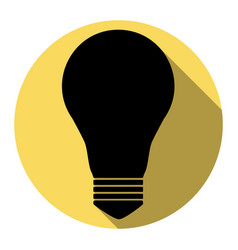 light lamp sign flat black icon with flat vector image