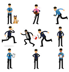 Policeman characters doing their job set vector