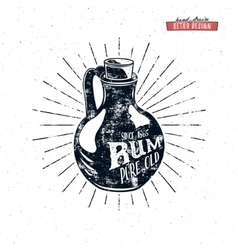 Retro rum bottle label design Vintage alcohol vector image
