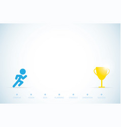 running man with trophy and text startup concept vector image vector image