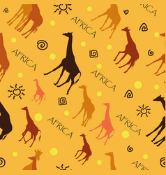 Seamless pattern with giraffes on yellow vector