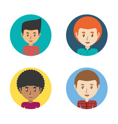 Set avatars men of different diversity inside vector