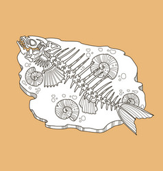Skeleton of fish fashion vector