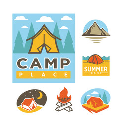 Summer camp place promotional logotypes with tent vector