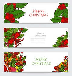 winter holidays cards set vector image vector image