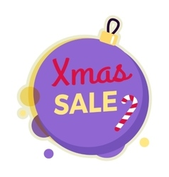 Xmas sale round banner isolated on christmas ball vector