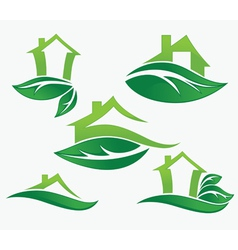 Set of ecological city and homes vector