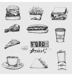 Set with fast food  Sketch vector image
