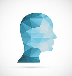 Head icon blue colors of abstract triangles vector