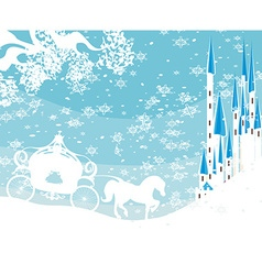 Winter landscape with castle and carriage vector