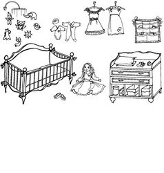 Baby girl room 1 vector