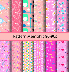 12 set pattern 80s background vector image