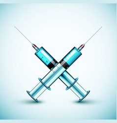 Two medical syringe vector