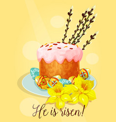 Easter holiday cake with eggs greeting card design vector