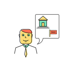 real estate agent manager line icon vector image