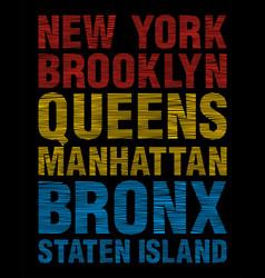 New york brooklyn queens bronx staten island vector