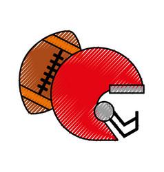 Scribble football helmet and ball vector