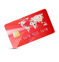 Red credit card isolated on white background vector