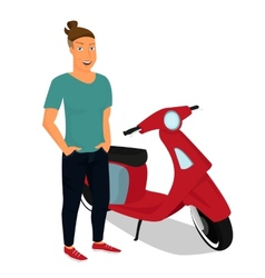 Hipster guy wearing stylish staying near red vector