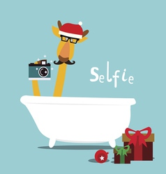 Holiday with giraffe in a bathroom vector