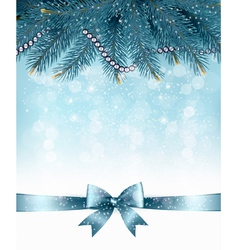 Christmas background with branches of tree and bow vector