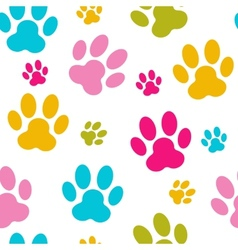 Animal paw seamless pattern background vector