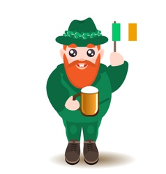Bearded gnome with beer and irish flag vector